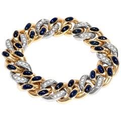 Pomellato Vintage circa 1981, 22 Ct Sapphire Diamond 18k Gold Tango Bracelet