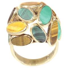 Vintage Pop-Art 18 Karat Gold Ring Set with Malachite and Tiger Eye, 1960s