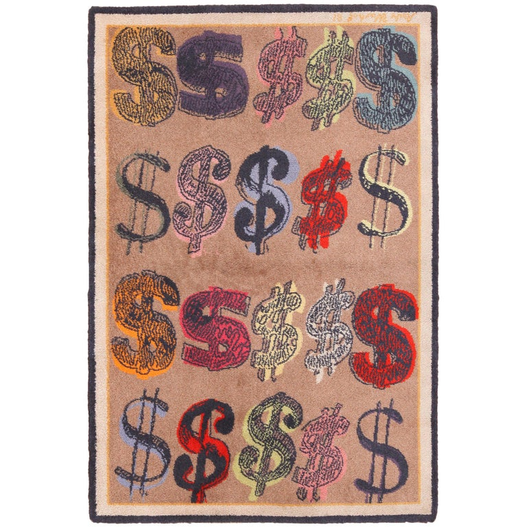 Vintage Pop Art Andy Warhol Dollar Sign Rug 4 ft 7 in x 6 ft 8 in For Sale