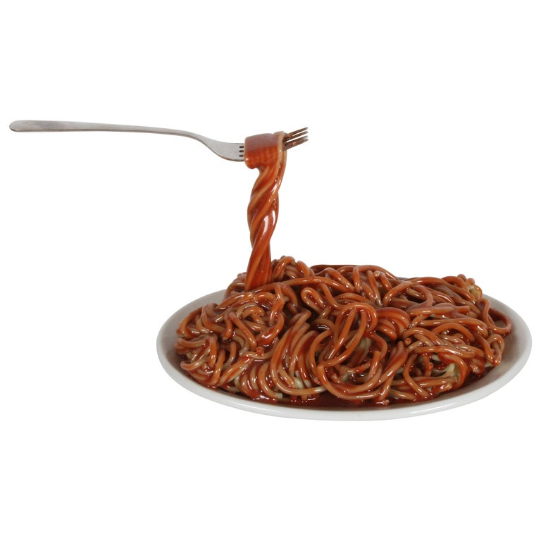 Vintage Pop Art Frozen Moments Spaghetti Sculpture with Noodles, Plate and Fork For Sale
