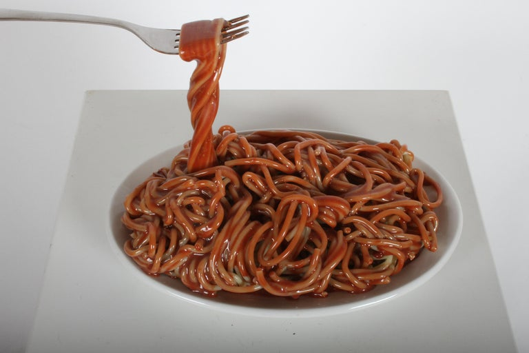Mid-Century Modern Vintage Pop Art Frozen Moments Spaghetti Sculpture with Noodles, Plate and Fork For Sale