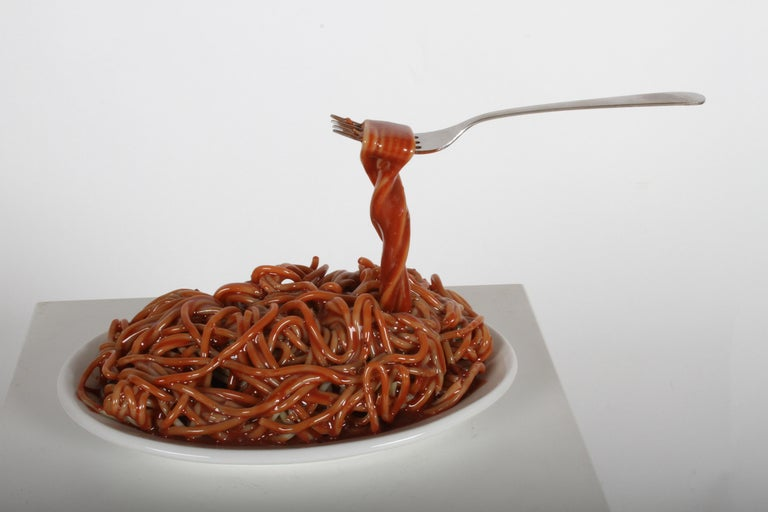 Vintage Pop Art Frozen Moments Spaghetti Sculpture with Noodles, Plate and Fork In Good Condition For Sale In St. Louis, MO