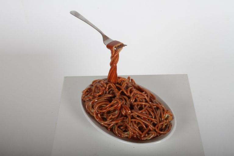 Late 20th Century Vintage Pop Art Frozen Moments Spaghetti Sculpture with Noodles, Plate and Fork For Sale