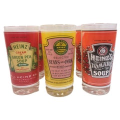 Vintage Pop Art Highball Glasses, Heinz Can Labels, Designed by Georges Briard