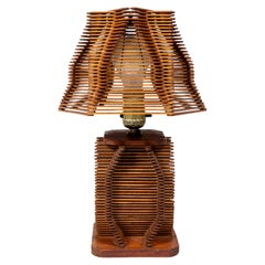 Vintage Popsicle Stick 'Tramp Art' Lamp