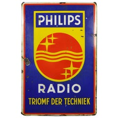 Vintage Porcelain Advertising Sign Philips Radio