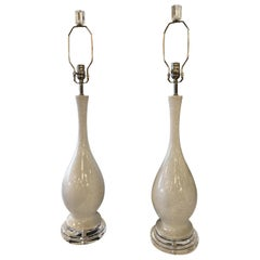 Vintage Porcelain Crackle Glaze Grey White Table Lamps Chrome Lucite, Pair