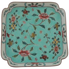 Vintage Porcelain Hand Painted Square Tray Cloisonne Floral Style