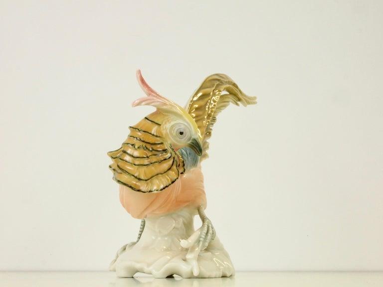 Romantic Vintage Porcelain Pheasant Figurine by Karl ENS Volkstedt For Sale