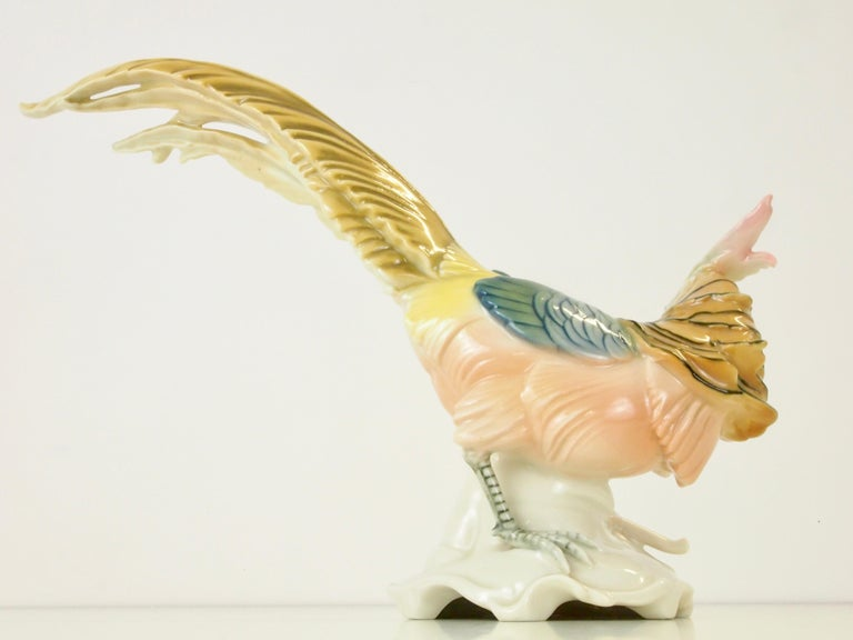 Hand-Painted Vintage Porcelain Pheasant Figurine by Karl ENS Volkstedt For Sale