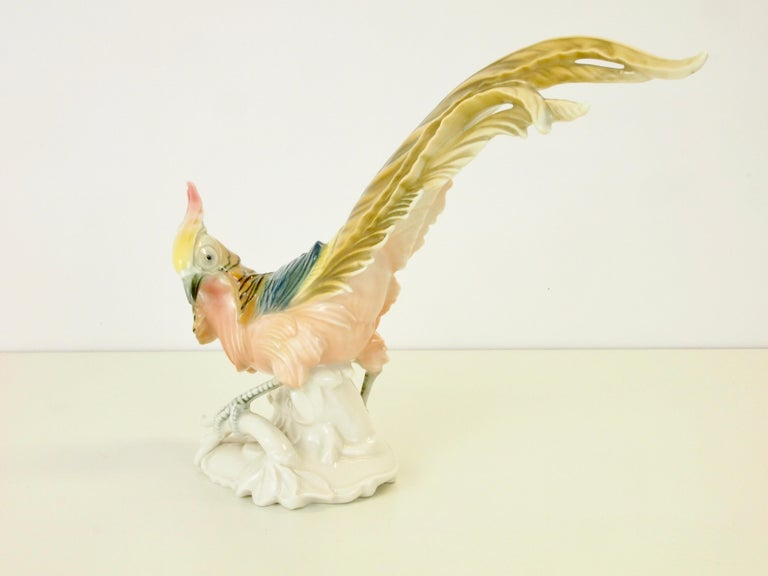 Vintage Porcelain Pheasant Figurine by Karl ENS Volkstedt For Sale 1