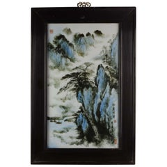 Vintage Porcelain Plaque Wooden Frame Mountain Landscape Fu Jun. Marked, China