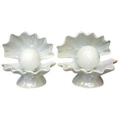 Vintage Porcelain Shell Shaped Lamps