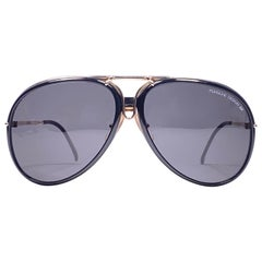 Vintage Porsche 5633 Gold & Black Frame 1980s Large Sunglasses Austria.