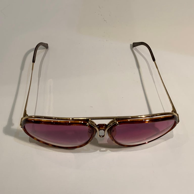 Vintage Porsche Design Carrera Large Gold Aviator Sunglasses with 2 Pairs Lenses For Sale 5