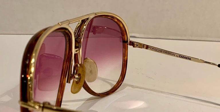 Vintage Porsche Design Carrera Large Gold Aviator Sunglasses with 2 Pairs Lenses For Sale 6