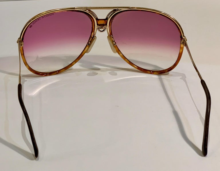 Vintage Porsche Design Carrera Large Gold Aviator Sunglasses with 2 Pairs Lenses For Sale 7