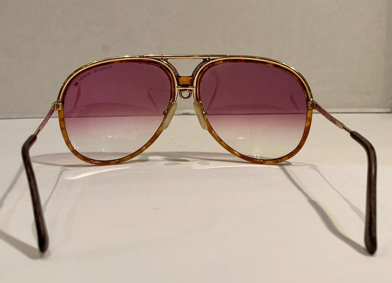 Vintage Porsche Design Carrera Large Gold Aviator Sunglasses with 2 Pairs Lenses For Sale 8