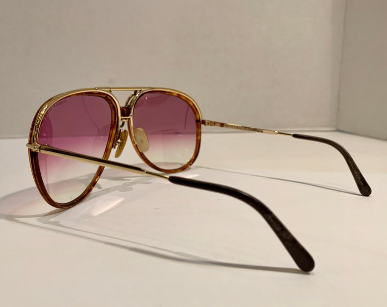 Vintage Porsche Design Carrera Large Gold Aviator Sunglasses with 2 Pairs Lenses For Sale 9