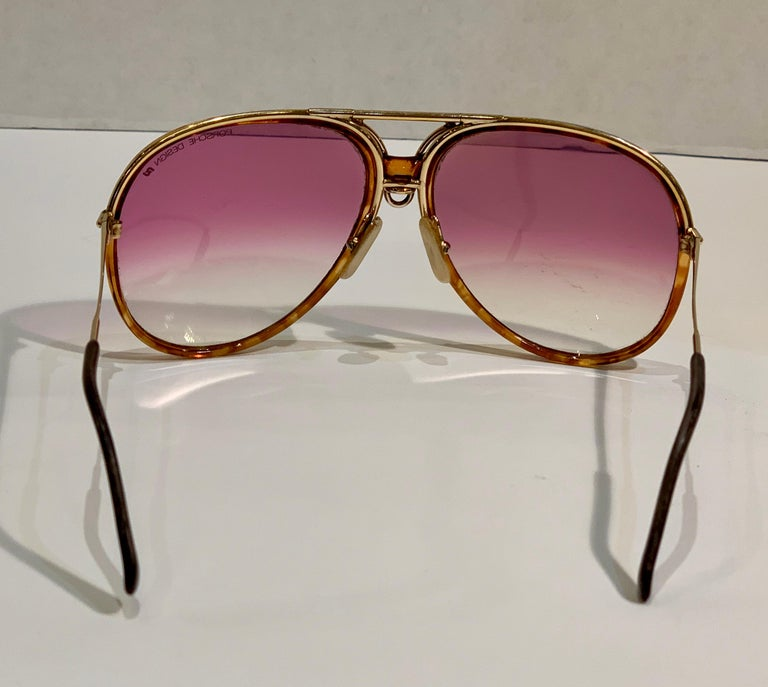 Vintage Porsche Design Carrera Large Gold Aviator Sunglasses with 2 Pairs Lenses For Sale 10