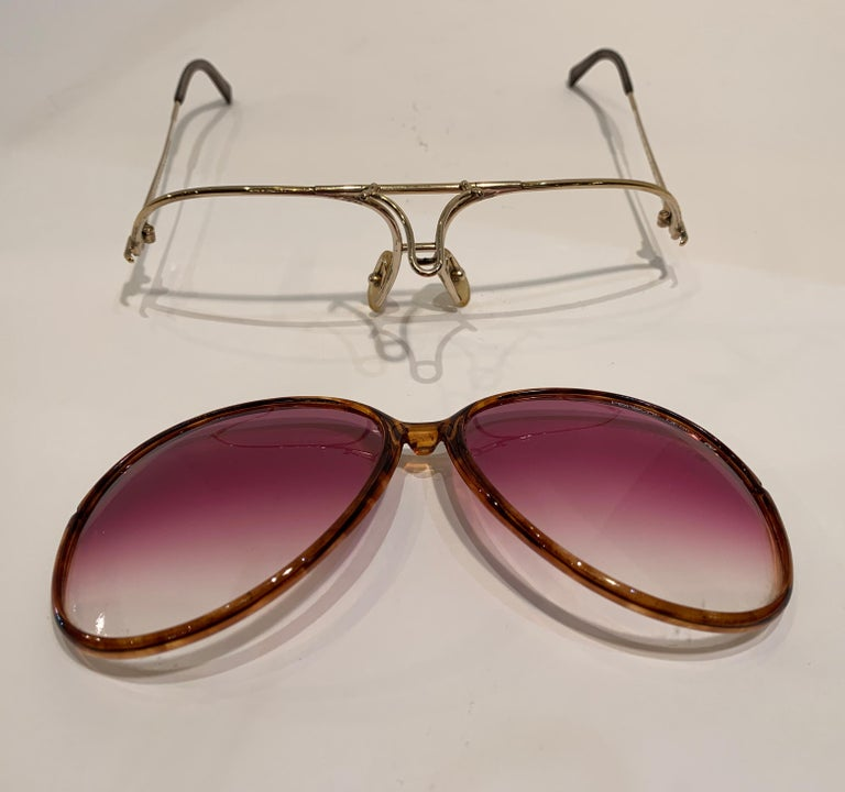 Vintage Porsche Design Carrera Large Gold Aviator Sunglasses with 2 Pairs Lenses For Sale 11