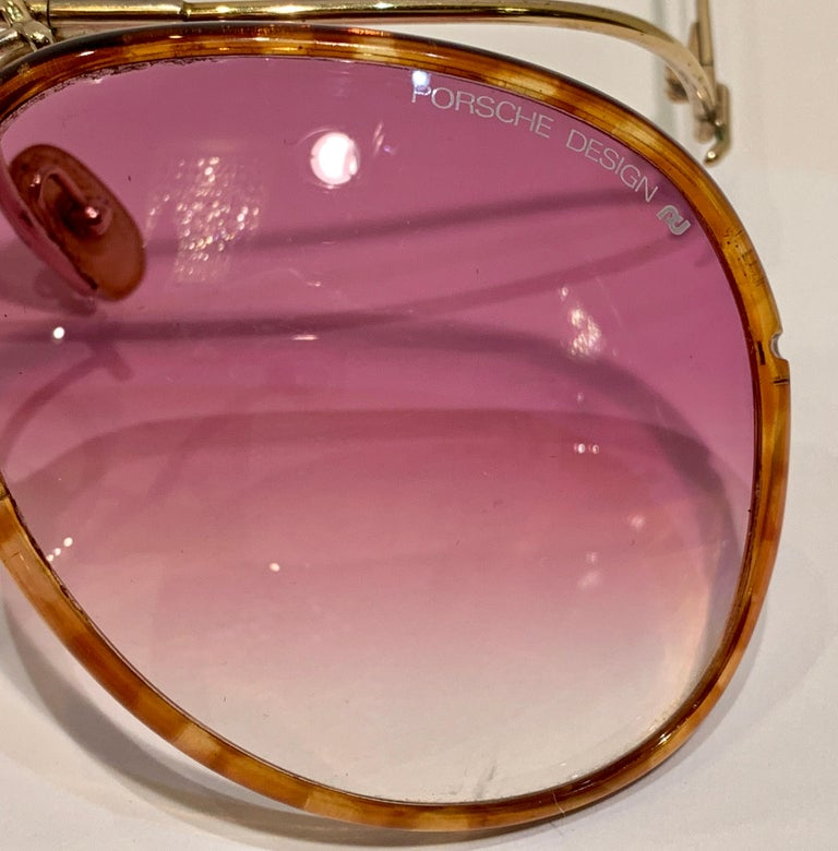 Vintage Porsche Design Carrera Large Gold Aviator Sunglasses with 2 Pairs Lenses For Sale 12