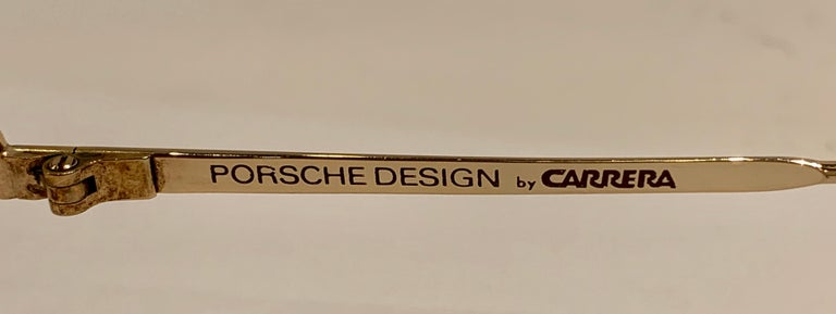 Vintage Porsche Design Carrera Large Gold Aviator Sunglasses with 2 Pairs Lenses For Sale 13