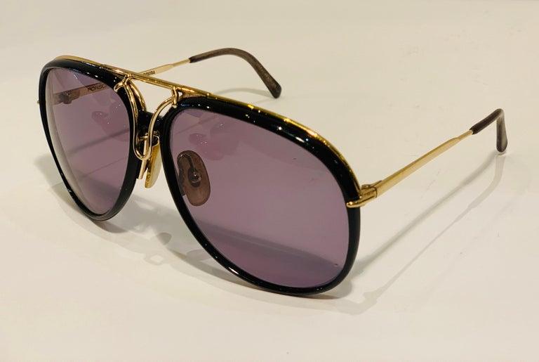 Black Vintage Porsche Design Carrera Large Gold Aviator Sunglasses with 2 Pairs Lenses For Sale