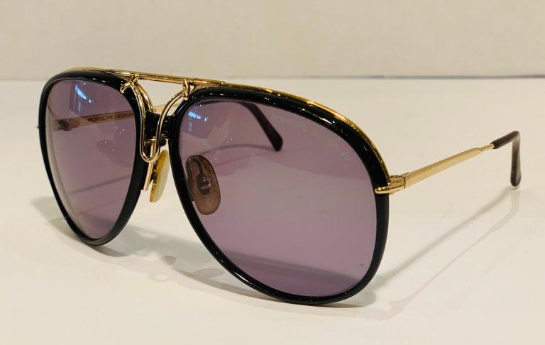 Women's or Men's Vintage Porsche Design Carrera Large Gold Aviator Sunglasses with 2 Pairs Lenses For Sale
