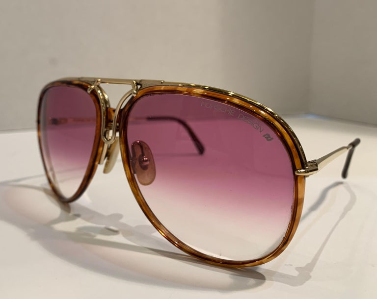 Vintage Porsche Design Carrera Large Gold Aviator Sunglasses with 2 Pairs Lenses For Sale 1