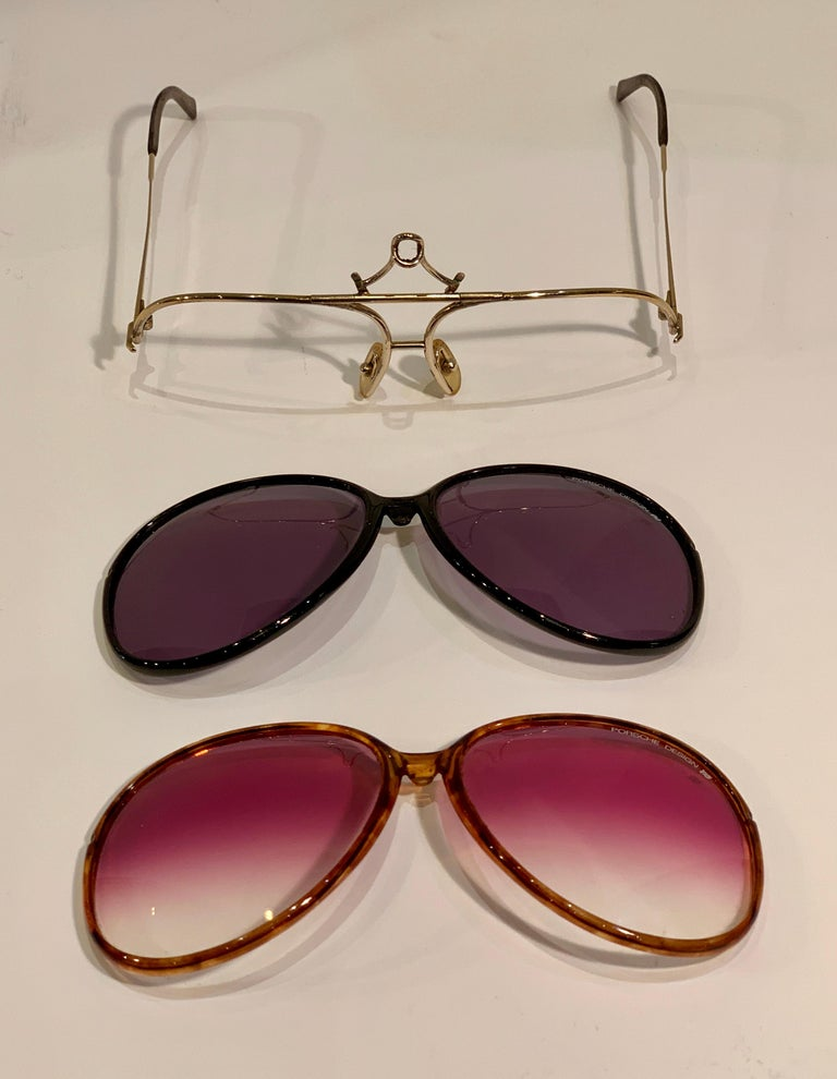 Vintage Porsche Design Carrera Large Gold Aviator Sunglasses with 2 Pairs Lenses For Sale 2