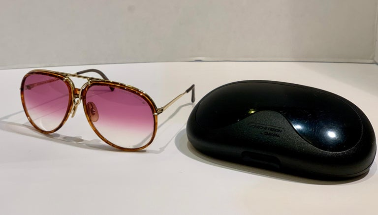 Vintage Porsche Design Carrera Large Gold Aviator Sunglasses with 2 Pairs Lenses For Sale 3