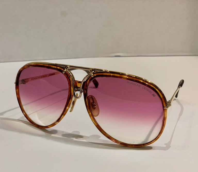 Vintage Porsche Design Carrera Large Gold Aviator Sunglasses with 2 Pairs Lenses For Sale 4