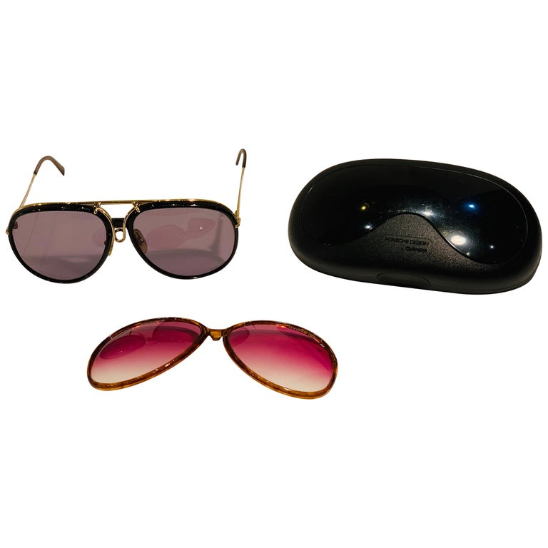 Vintage Porsche Design Carrera Large Gold Aviator Sunglasses with 2 Pairs Lenses For Sale