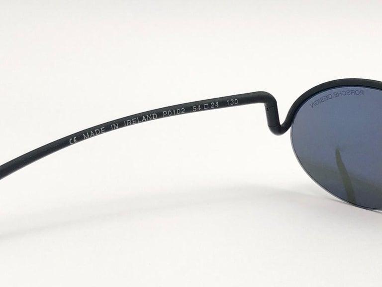 Vintage Porsche Design P0102 Black Matte S Frame 1980s Large Sunglasses Austria. For Sale 1