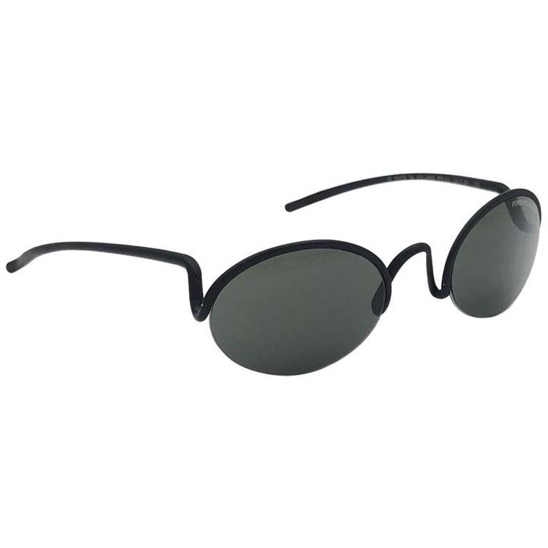 Vintage Porsche Design P0102 Black Matte S Frame 1980s Large Sunglasses Austria. For Sale