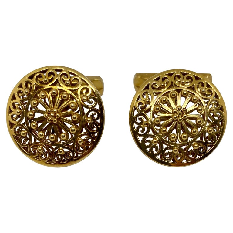 Vintage Portuguese Cufflinks in Solid .800 '19.2 Karat' Gold For Sale