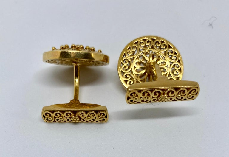 Artisan Vintage Portuguese Cufflinks in Solid .800 '19.2 Karat' Gold For Sale