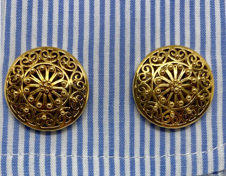 Vintage Portuguese Cufflinks in Solid .800 '19.2 Karat' Gold In Good Condition For Sale In San Rafael, CA