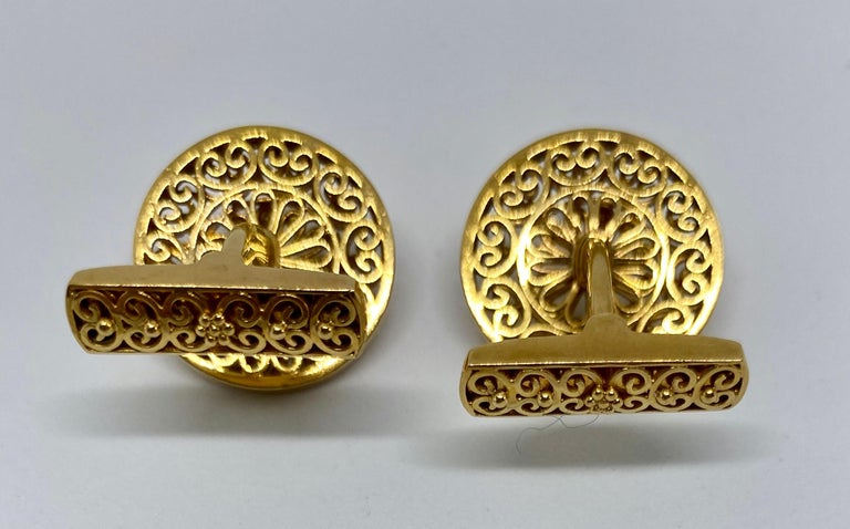 Women's or Men's Vintage Portuguese Cufflinks in Solid .800 '19.2 Karat' Gold For Sale