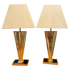 Vintage Post Modern Lucite and Gold Metal Triangular Table Lamps