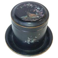 Vintage Post War Japanese Black Aboloni Round Tea Caddie Canister
