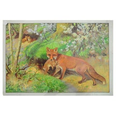 Vintage Poster Fox Mother Loot Rabbit Fox Cubs Wall Chart