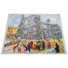 Vintage Poster Historical Construction Gothic Dome Medieval City Historical Site