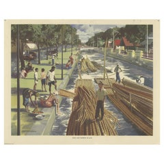 Vintage Poster of Cane and Bamboo Transportation on Java 'c.1960'