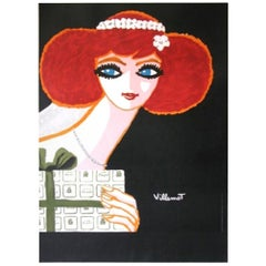 Vintage Poster Original Christofle Villemot French Fashion Art Design