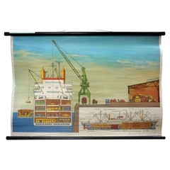 Vintage Poster Rollable Wallchart Cargo Ship on Quay Maritime Decoration