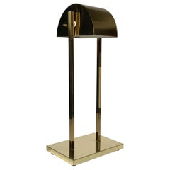 Vintage Postmodern 1970s Brass Demilune Table / Desk Lamp by Kovacs