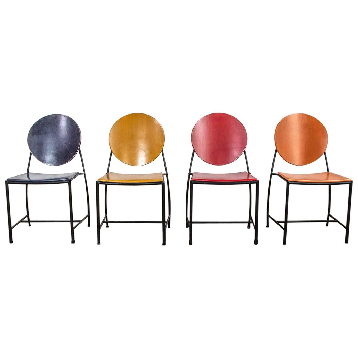 Vintage Postmodern Dakota Jackson Vik-Ter Dining Chairs Red Yellow Orange Blue