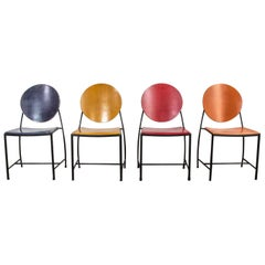 Vintage Postmodern Dakota Jackson Vik, Ter Dining Chairs Red Yellow Orange Blue